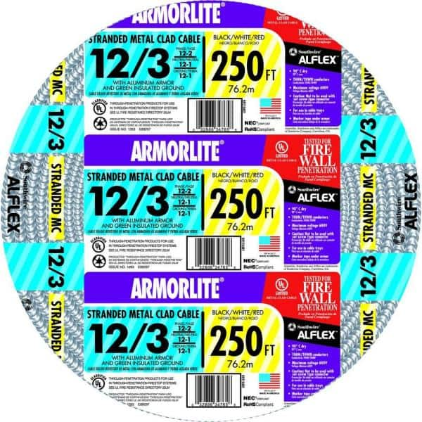 Southwire 12 3 X 250 Ft Stranded Cu Mc Metal Clad Armorlite Cable 69115401 The Home Depot