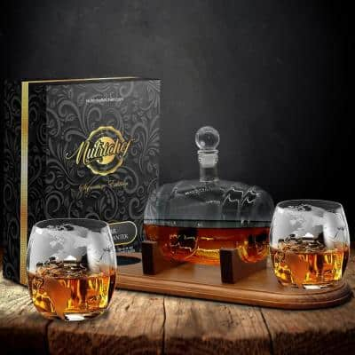 25 oz. Glass Wine and Whiskey Decanter Aerator Set with Whiskey Glasses