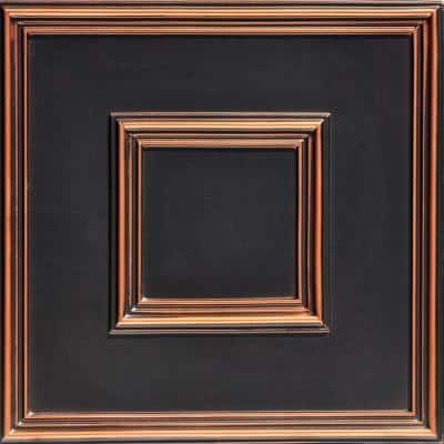 Town Square Antique Copper 2 ft. x 2 ft. PVC Glue-up or Lay-in Faux Tin Ceiling Tile (100 sq. ft./case)