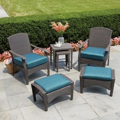 Placerville Brown 6-Piece Wicker Patio Conversation Set with Turquoise Cushion