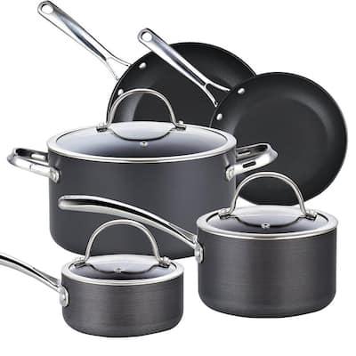 8- Piece Hard-Anodized Aluminum Nonstick Cookware Set in Black