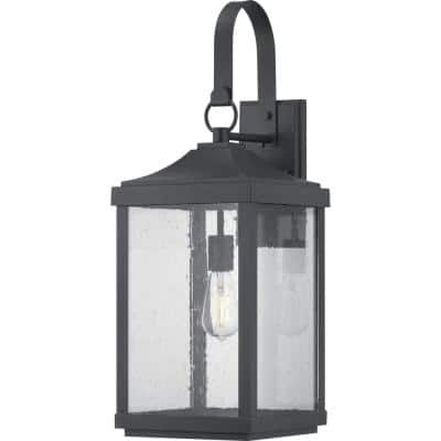Park Court 26 in. 1-Light Textured Black Traditional Outdoor Wall Lantern with Clear Seeded Glass