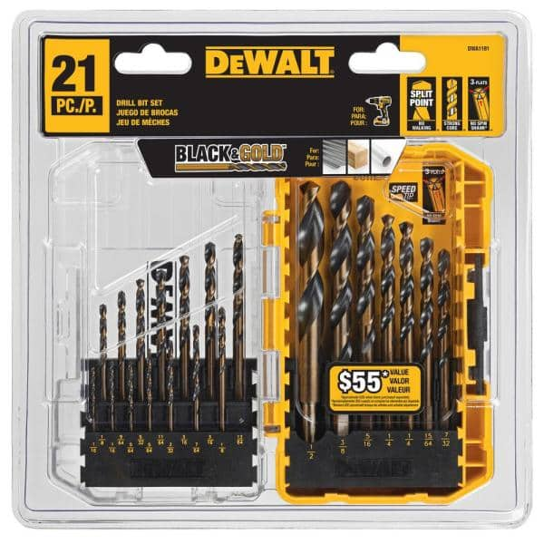 black and gold drill bit set 21-piece