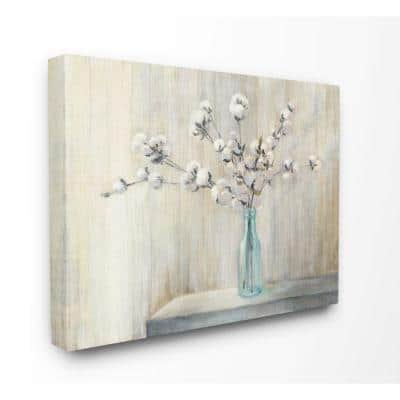 """24 in. x 30 in. """"Beautiful Cotton Flower Grey Brown Painting"""" by Julia Purinton Canvas Wall Art"""