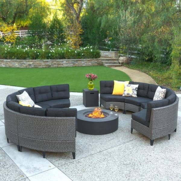 Wicker Garden Furniture With Fire Pit, Dineli Patio Furniture Sectional Sofa With Gas Fire Pit Table