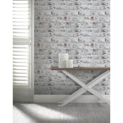Whitewash Paper Non-Pasted Wallpaper Roll (Covers 57.26 Sq. Ft.)
