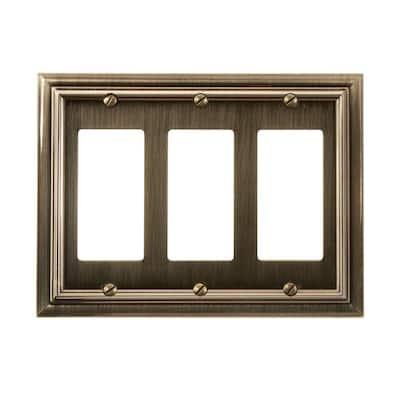 Continental 3 Gang Rocker Metal Wall Plate - Brushed Brass