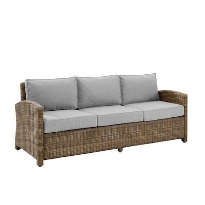 Bradenton Weathered Brown Wicker Outdoor Sofa with Gray Cushion