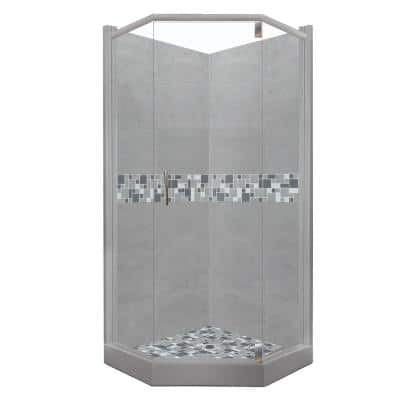 Newport Grand Hinged 32 in. x 36 in. x 80 in. Left Cut Neo-Angle Shower Kit in Wet Cement and Satin Nickel Hardware