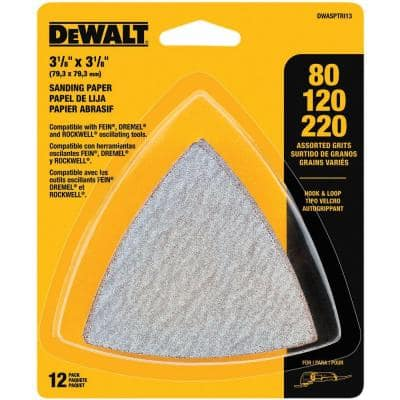 Hook-and-Loop Triangle Sandpaper Assortment (12-Piece)