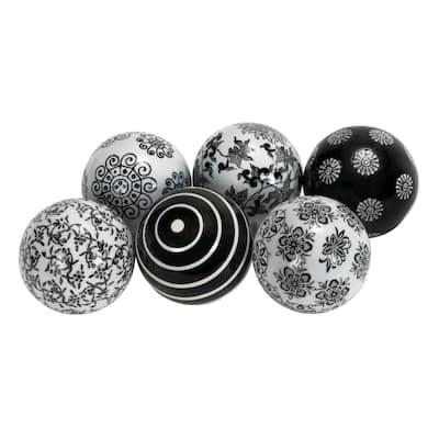 Black Ceramic Traditional Orbs and Vase Filler (Set of 6)