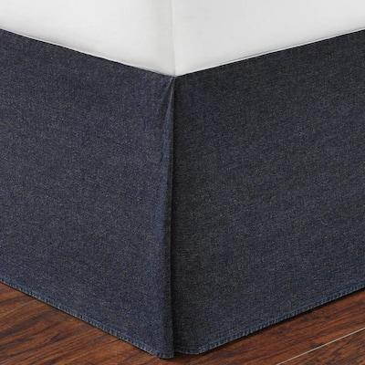 15 in. Denim Blue Solid Cotton Bed Skirt
