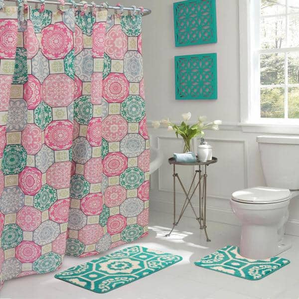 Shower Curtain Set In Pink, Bathroom Sets With Shower Curtain And Rugs