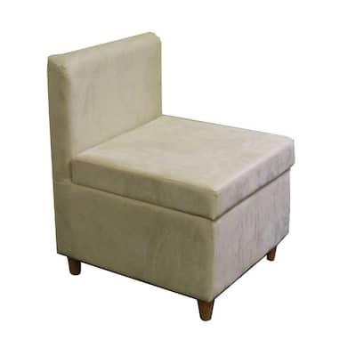 Cream Polyurethane Storage Accent Chair