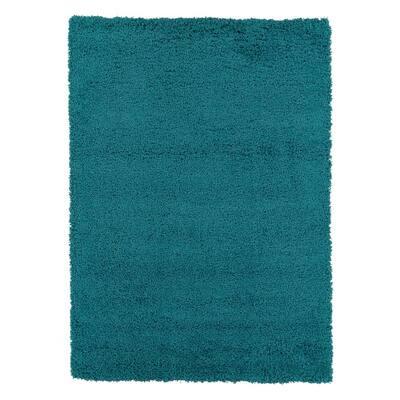 Plush Solid Shaggy Blue 7 ft. x 9 ft. Shag Area Rug
