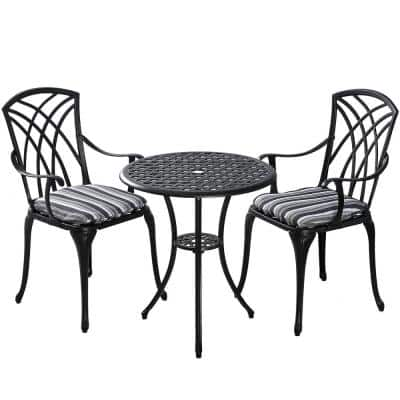 Ekta Black 3-Piece Metal Patio Bistro Table Set with Coastal Stripes Cushions