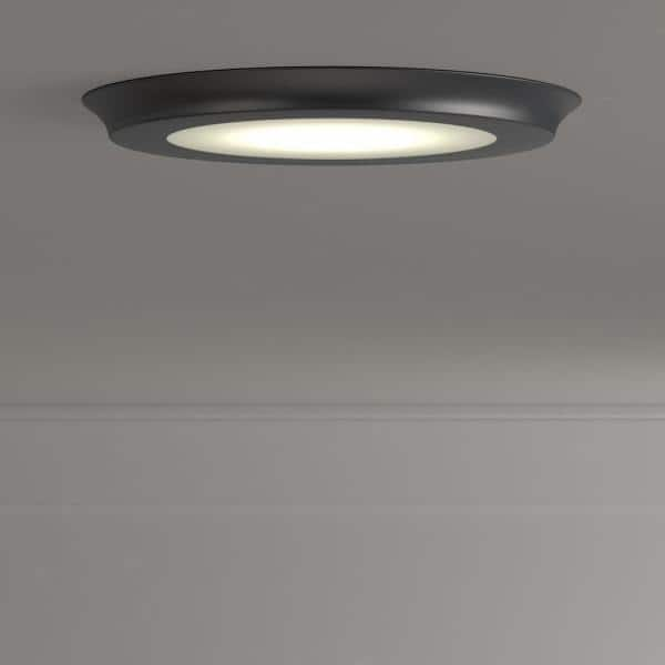Home Decorators Collection 22 Watt 15 In Nickel Integrated Led Flat Round Panel Flush Mount 74023 Hd The Home Depot