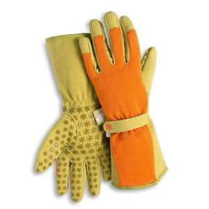 Women's Large Long Cuff Fingertip Protector Gardening Gloves in Burnt Orange