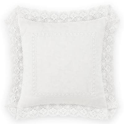 Annabella White Ruffle Solid Cotton 18 in. x 18 in. Throw Pillow