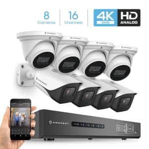 4K 16-Channel DVR Security Camera System with 8x 4K 8 MP Indoor Outdoor Weatherproof IP67 Bullet and Dome Wired Cameras