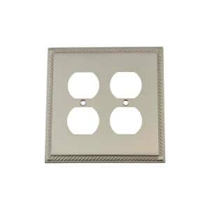 Nickel 2-Gang Duplex Outlet Wall Plate (1-Pack)