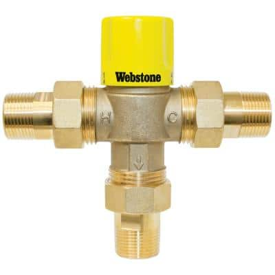 1/2 in. MIP TMV W/Integral Check Valve & Temperature Locking Handle For Low Temp Hydronic Heat & Water Distr. Systems
