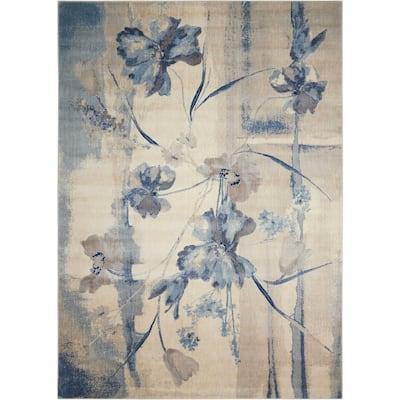 Somerset Ivory/Blue 7 ft. x 10 ft. Floral Vintage Area Rug