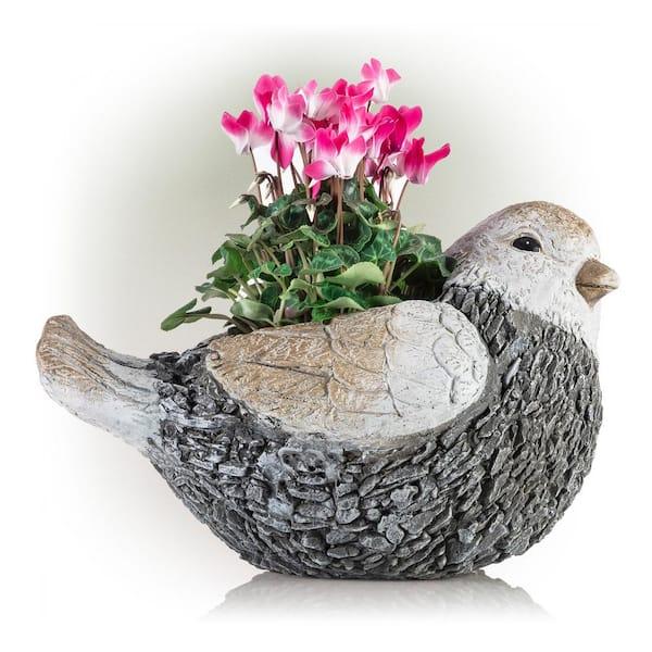 Light Blue Flowerpot Pick Bird