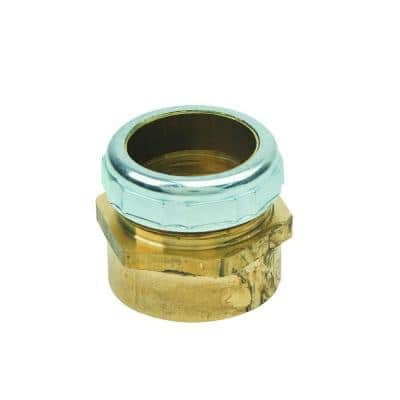 1-1/4 in. O.D. Compression x 1-1/4 in. FIP Brass Waste Connector with Die Cast Nut in Chrome