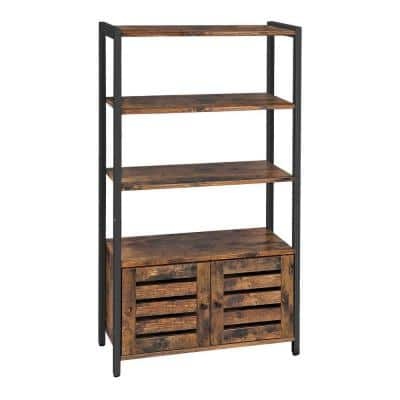 Brown and Black Wooden Storage Cabinet with 3-Open Shelves and 2-Doors