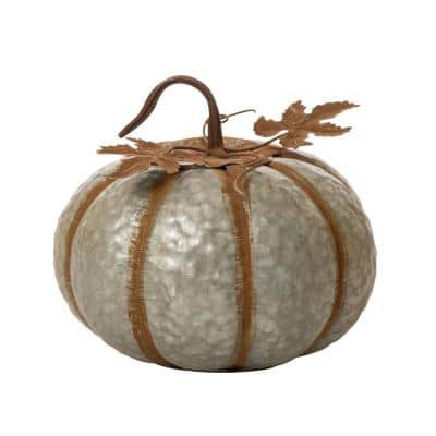 12 in. H Galvanized Metal Round Pumpkin