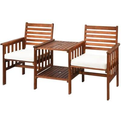 Acacia Wood Outdoor Patio Loveseat with Table and White Cushions