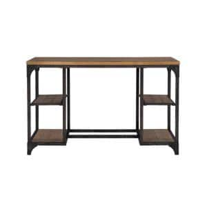 48 in. Rectangular Weathered Driftwood Wood Writing Desk with Built-in Storage