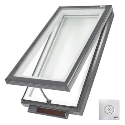 22-1/2 in. x 34-1/2 in. Solar Powered Fresh Air Venting Curb-Mount Skylight with Laminated Low-E3 Glass