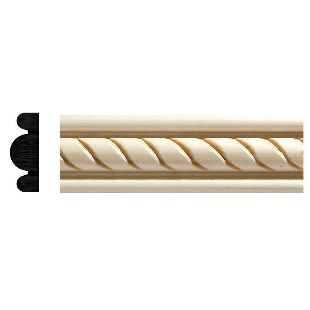 Ornamental Mouldings 1831 1 2 In X 1 3 8 In X 96 In White Hardwood Embossed Rope Detail Moulding 1831 8whw The Home Depot