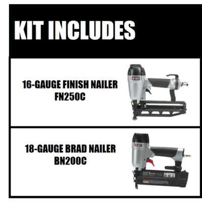 Pneumatic 16-Gauge 2-1/2 in. Nailer Kit with Bonus 18-Gauge Brad Nailer Kit