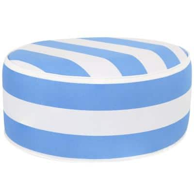 12 in. Outdoor Inflatable Ottoman Cushion All-Weather Design in Beach Bound Stripe