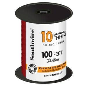 100 ft. 10 Red Stranded CU THHN Wire