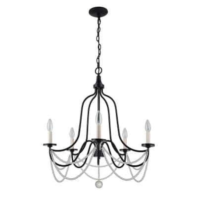 24 in. 5-Light Black and White Chandelier