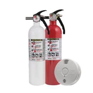 10 Year Worry-Free Home Fire Safety Kit, 10 Year Battery Smoke/CO Detector with Voice Alarm & Fire Extinguisher
