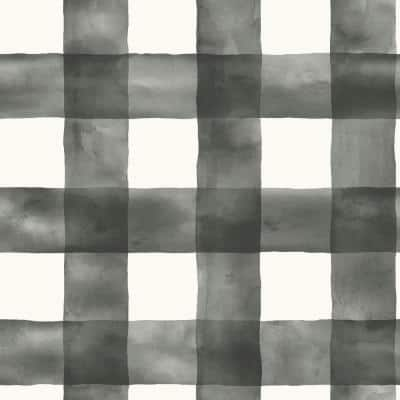 Watercolor Check Black And White Paper Strippable Wallpaper Roll (Covers 56 Sq. Ft.)