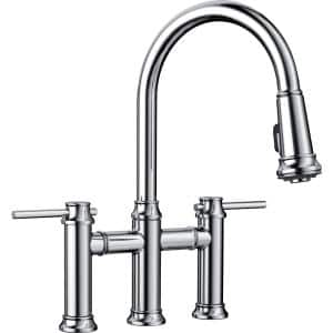 Empressa 2-Handle Bridge Kitchen Faucet with Pull-Down Sprayer in Polished Chrome