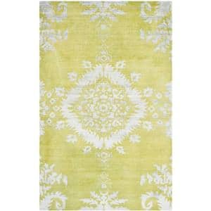 Stone Wash Chartreuse 6 ft. x 9 ft. Floral Area Rug