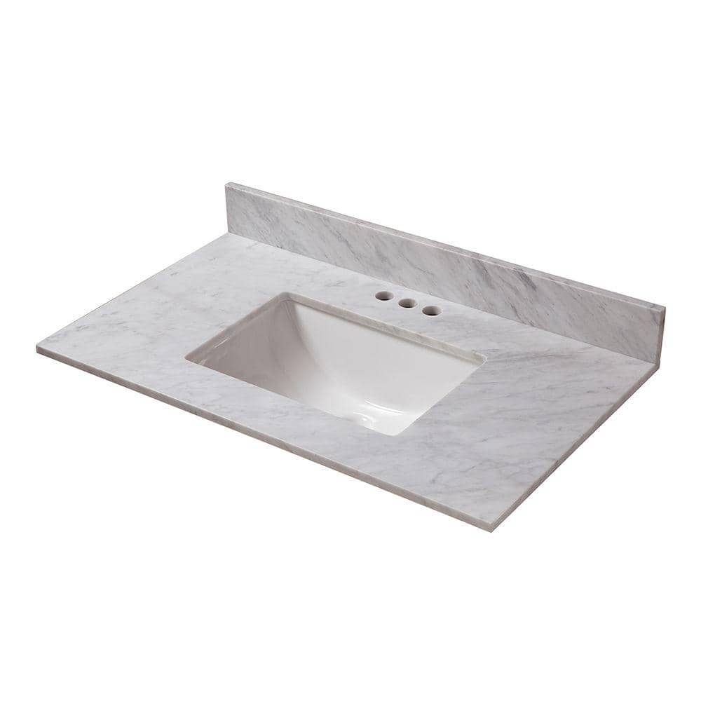 Home Decorators Collection 37 In W X 19 In D Marble Vanity Top In Carrara 23108 The Home Depot