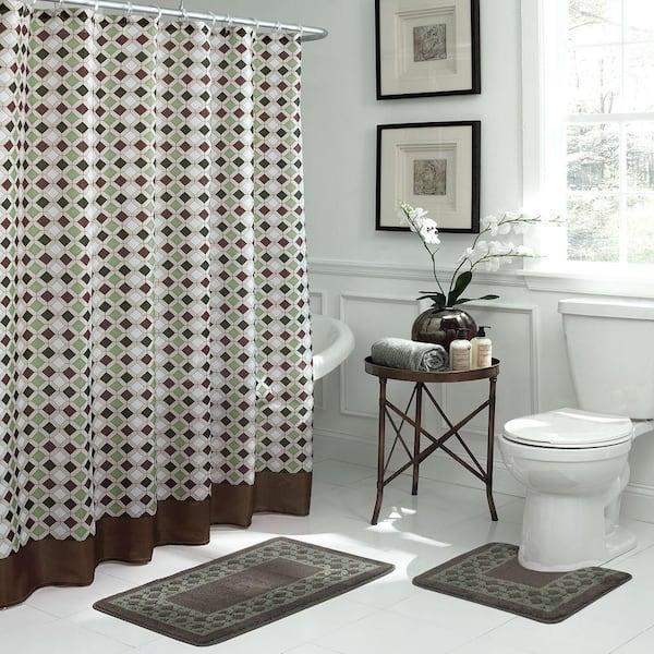 Bath Fusion Christine Chocolate Sage Bath Rug And Shower Curtain Set 15 Piece Ecb0013142 The Home Depot