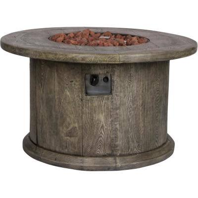 Merida Round Outdoor Propane Gas Grey Fire Pit Table with Lava Rock, 40 in. Dia