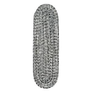 Salt and Pepper 8 in. x 28 in. Oval Stair Treads Braided Lefebvre Indoor/Outdoor