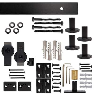 60 in. Black Single Bi-Fold Top Mount Sliding Barn Door Track and Hardware Kit