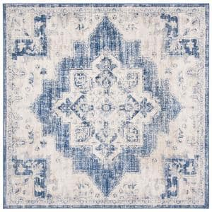 Brentwood Ivory/Navy 9 ft. x 9 ft. Square Area Rug