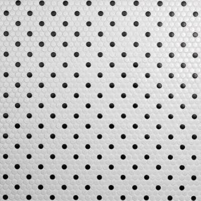 Metro Penny Matte White with Black Dot 11-1/2 in. x 9-3/4 in. Porcelain Mosaic (7.97 sq. ft./Case)